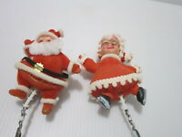 Christmas Picks Plastic Fuzzy Flocked Santa & Skating Mrs Claus Vintage