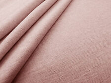 HERRINGBONE BLUSH T98 PINK DRESSMAKING CURTAIN UPHOLSTERY FABRIC PLAIN