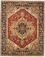 "Hand-knotted  Carpet 7'10"" x 9'10"" Serapi Heritage I Traditional Wool Rug"