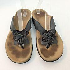 Vionic Women's Size 10 Rosario Flower Black Leather Thong Flip Flops Sandals F60