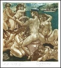 David Bekker 2003 Exlibris C4 Ship of Love Erotic Erotik Nude Woman Sex Orgy 811