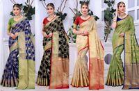 Saree Indian Sari Designer Wear Blouse Silk Pakistani Party Wedding Kanchipuram