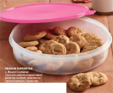 """Tupperware 12"""" Pie Cookies Cupcake & Pizza Clear Container & Pink Seal New"""