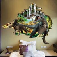 3D Dinosaur Wall Sticker Kids Bedroom Decal Mural Cartoon Animals Wall Art Decor