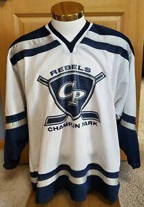 Champlin Park Rebels High School Minnesota Hockey White Bakka Jersey Medium #3