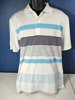 Adidas PureMotion Golf Polo Shirt Men's Size Large White/Blue Striped