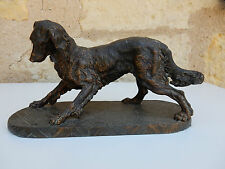 More details for 1900s  antique spaniel spelter figure on stand with great patina bronze effect