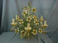 Tole Hanging Light Chandelier 6 taper Yellow White Flower 17D061