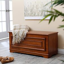 Hope Chest Cedar Trunk Wood Bedroom Storage Treasure Solid Wood Bench Oak Finish