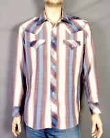 vtg 70s Kennington Ltd. Southwest Striped Men's Western Shirt Pearl Snap sz XL