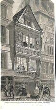 Maison en Bois Sculptée  rue du Gros Horloge à Rouen Normandie 1863 ILLUSTRATION