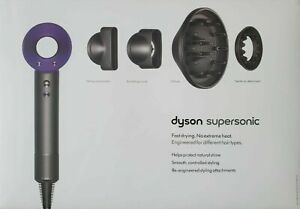 Dyson Supersonic Hair Dryer in Purple / Nickel Includes Attachments