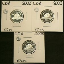 2002 2003 2005 Canada 5 Cents Proof Lot of 3 Silver #6061