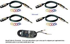 ROCKCABLE CAVO PER  MICROFONO / CASSE CANNON XLR F + JACK 6,3 set 5 CAVI da 3 mt