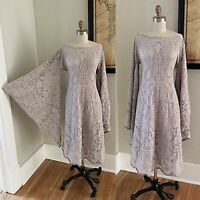 VTG Boho Beige Sheer Crochet Lace Bell Sleeve 70s Hippie Wedding Festival DRESS