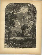 1883 Wood Engraving Yosemite Falls El Capitan Merced River Mirror Lake Watkins