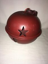 huge metal jingle bell winter decor christmas country style, star cutouts 22'' d