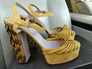 Gucci Yellow Suede Leather Strappy Bamboo Heels Sandals Platform Shoes