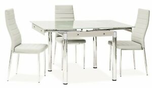 """""""SAVANNAH"""" White Glass Extendable Dining Kitchen Table & Chairs"""