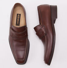 New $950 SUTOR MANTELLASSI Medium Brown Calf Leather Penny Loafer US 11 D Shoes