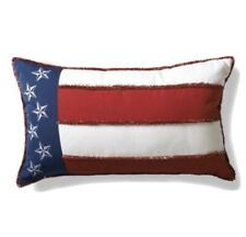 Frontgate Americana Flag Embroidered Outdoor Lumbar Pillow Brand new