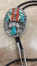 Vintage Silver Navajo Bolo with Turquoise Mother Of Pearl Onyx & Coral