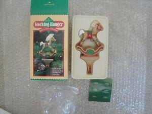 Vintage Hallmark Christmas Stocking Hanger - Rocking Horse - Baby's First Xmas