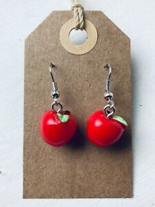 CUTE RED APPLE Earrings Moulded 3 D Kitsch Retro Size 1.0 x 1.0 cms