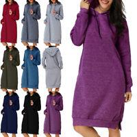 Womens Hooded Long Sleeve Jumper Dress Ladies Casual Hoodies Sweater Sweatshirt