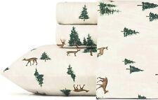 Brown Green Deer Pine Tree 4pc Cotton Flannel Sheet Set Twin Full Queen King Bed