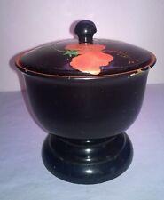 KAKUMAN Candy Dish Black Laquered Urn Okinawa Japan w/ red/orange flower design