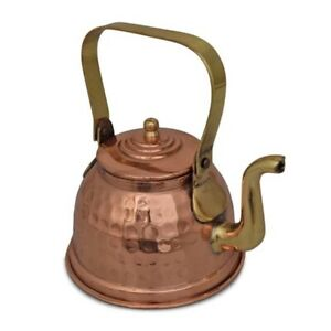Lovely Copper Kalai Tea Kettle Hammered Pot With Brass Handle For Cooking 300ML