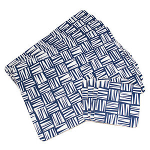 Set of 4 Placemats & Coasters Cork Table Place Settings Mats White Navy Blue