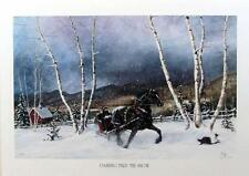 Rozan Henning Dashing through the Snow Horse and Sleigh Print SN with Cert
