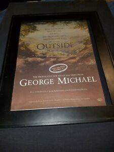 George Michael Outside Rare Original Radio Promo Poster Ad Framed!