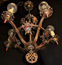 VTG GOTHIC REVIVAL TUDOR ART CRAFT DECO CAST BRONZE CHANDELIER FIXTURE