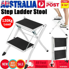 2 Step Stool Folding Ladder Anti Slip Safety 120KG Home Kitchen Lightweight