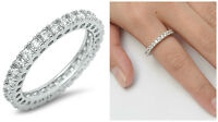 Sterling Silver 925 STACKABLE ETERNITY CLEAR CZ BAND DESIGN RING 3MM SIZES 5-12