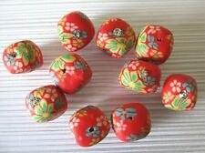 10 Polymer clay cube beads, red floral