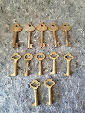 Lot 12 Antique Vintage Skeleton Keys, Brass And Steel barrel numbered Hotel