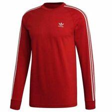 Adidas Originals para hombre 3 Stripe Crew Sudadera Logo Jersey Rojo DV1553
