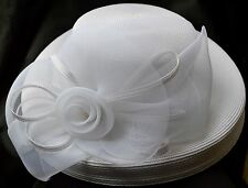 Beautiful Vintage Ladies Wide rim Hat By Deborah fashions Rose Netting White!