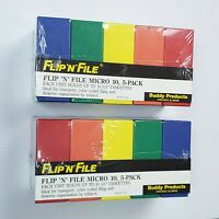 """NEW 2 Flip N File Micro 10 3.5"""" Floppy Disk Cases Hold 100 Diskettes Multi Color"""