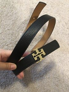 New! TORY BURCH REVERSIBLE LEATHER GOLD WOMEN'S BELT