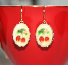 Vintage RARE Japan porcelain glass strawberry fruit rockabilly artisan earrings
