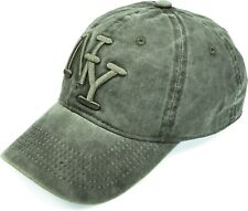 New York Solid Baseball Cap Washed Cotton Low Profile Hat Embroidered Olive