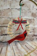 Vintage Wood Cut Out Straw Wreath Cardinal Christmas Tree Orament Holiday 3.5""