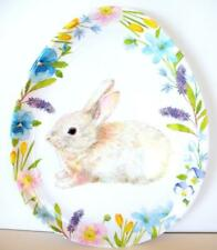 4 Cottontail Easter Egg Shaped Plates Melamine Set Bunny Rabbit Dessert Dish new