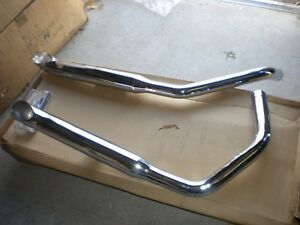 """NOS Mac Harley Davidson Sportster Staggered Duals Exhaust 1 3/4"""" Chrome Turnouts"""