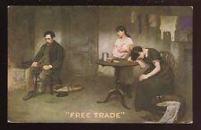 Political FREE TRADE bringing family ruin Early artist drawn Plain Back Card